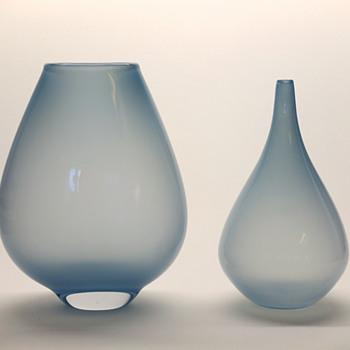 Rare light blue Gunnar Nylund vases - Strombergshyttan mid 1950s. - Art Glass