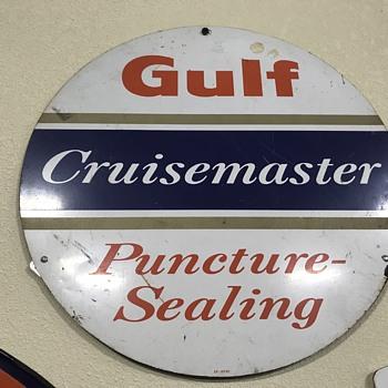 Gulf tire display  signs  - Petroliana