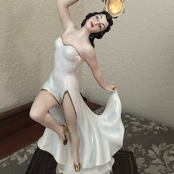 Vintage Dresden lady figurine with tambourine