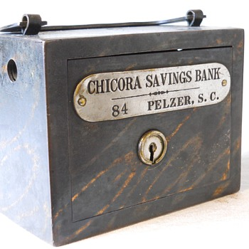 "Promotional Advertising Steel Bank""Chicora Savings Bank, Pelzer, South Carolina""c 1900 - Coin Operated"