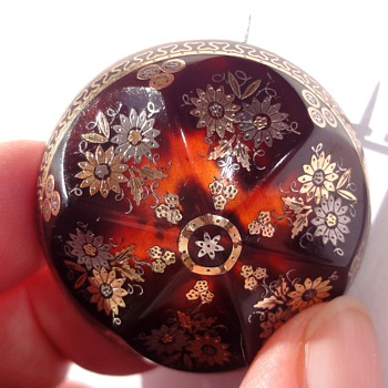Tortoise Elaborated Domed Piqué  Brooch and Locket  - Fine Jewelry