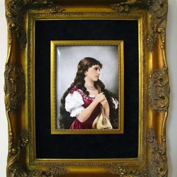 Antique T&V Limoges Hand Painted Signed Portrait Plaque