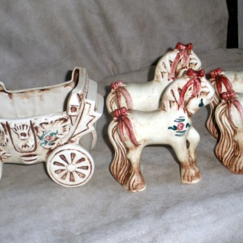 Cinderella Princess Coach & Four Horses by BZ Originals, CA Pottery - Pottery