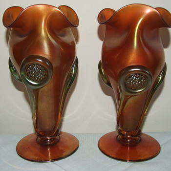 Mega Rare Vaseline Carnval Glass Tornado Vases - Glassware