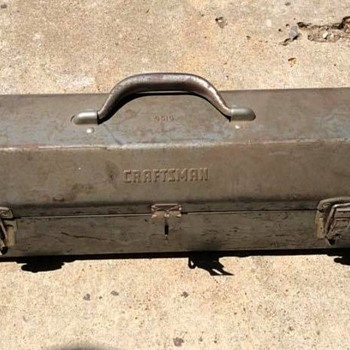 Late 1950s to Early 1960s Craftsman 6516 Tombstone-Style Metal Toolbox w/ Socket Tray and Embossed Name - Tools and Hardware