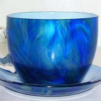 Rare Loetz Titania Demitasse Cup and Saucer. - Art Glass