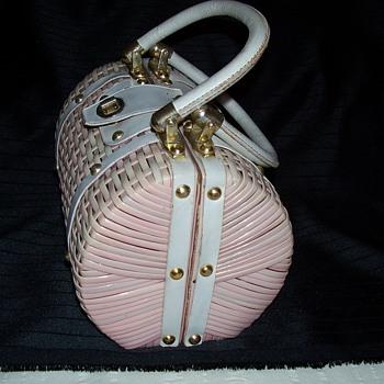pink straw bag