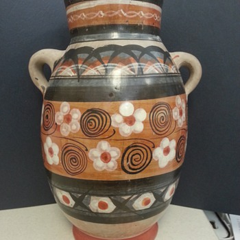 Redware Folk Art Two Handle Jug, Pot or Vase?  Mexican? - Pottery