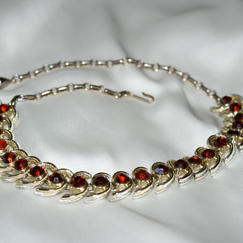 Vintage Coro Choker Necklace with Rhinestones  - Costume Jewelry