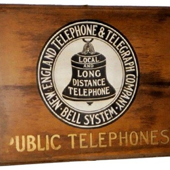 New England Telephone & Telegraph Company Public Telephones Wooden Sign - Signs