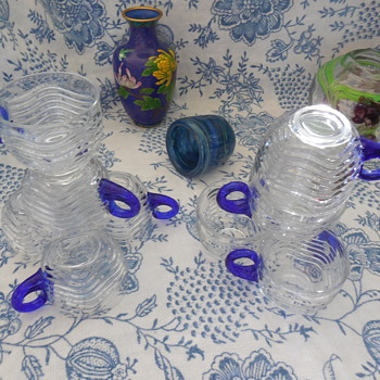 10 Duncan Miller Glass Caribbean Punch Cups with Cobalt Blue Applied Handles  - Glassware