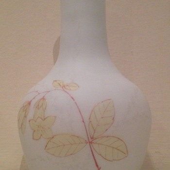 Enamelled white satin glass vase with campanula