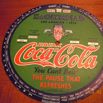 1932 Coca-Cola Olympic Indicator, Xth Olympiad, Los Angeles - Coca-Cola