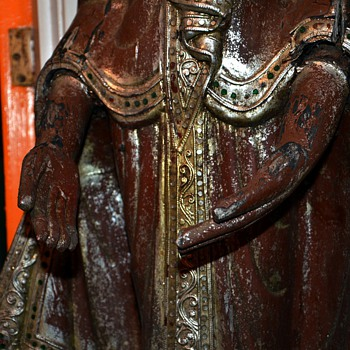 19th century - a Burmese Mandalay Standing Wooden Buddha decorated with Thayo lacquer and glass mosaics
