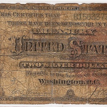 1886 $2.00 Silver Certificate.