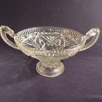 Trophy style clear glass pedestal fruit bowl (with dragon handles) - unknown maker, Art Deco? - Glassware