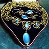 Antique Victorian Celyon Moonstone Butterfly 18k Necklace Earring Demi Parure