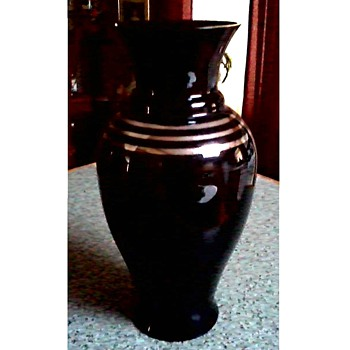 Art Deco Black Glass Vase / Silver Band Accents / Unknown Maker and Age - Art Glass