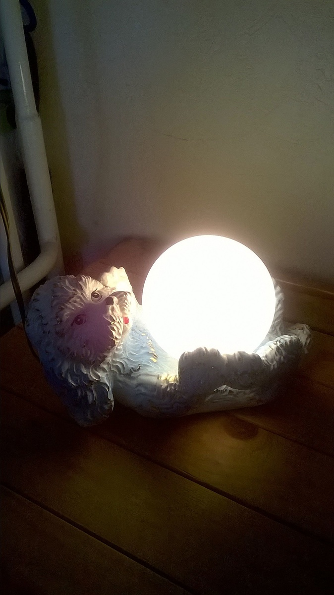 Kitschy poodle table light belgian flea market find 3 bucks 18 geotapseo Images