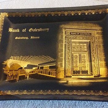 gilt/smoked glass commemorative plate, BANK OF GALESBURG - Advertising