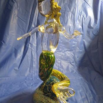 Mermaid figurine murano Artist? Signed dated 05 - Art Glass
