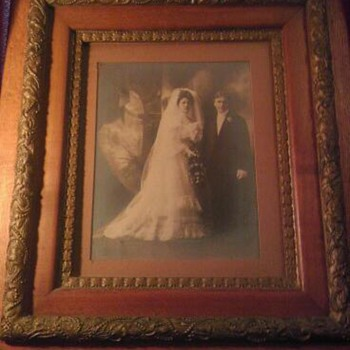Great Gr. Grandparents Frederick and Louise Foelske with lovely oak gilded gesso frame - Photographs