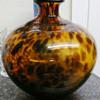 Murano Leopard Tortoise Brown & Gold Vase
