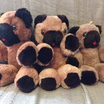 3 Shanghai Dolls Factory Teddy Bear Brown Wool Plush
