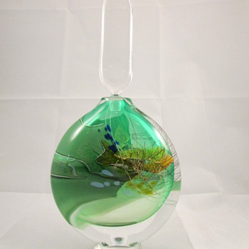 Signed Vintage Blown Art Glass Decanter - Art Glass