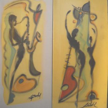 Mid Century Modern Jazz Paintings