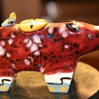 Rhinocerus Candlestick or Tiny Birdbath - Animals