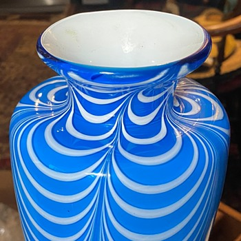 Blown Glass Vase with Drapery Design - Art Glass