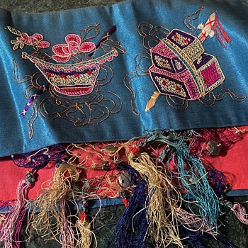 Two large hoops of brightly colored, embroidered Chinese silk panels / fringes - Asian