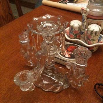 unidentified glass candle holder 5 light 1 bobeche 8 prism - Glassware