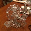 unidentified glass candle holder 5 light 1 bobeche 8 prism