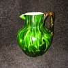 Marble green art glass small pitcher