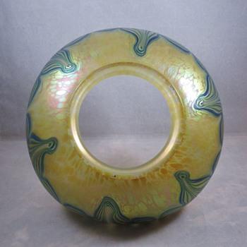 Loetz oil lamp shade in Thea and dark blue/silver threads - Art Glass