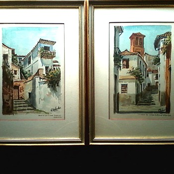 "Nicolas Bermudez Watercolors /13"" x 17 "" Matted And Framed /Circa 20th Century - Fine Art"