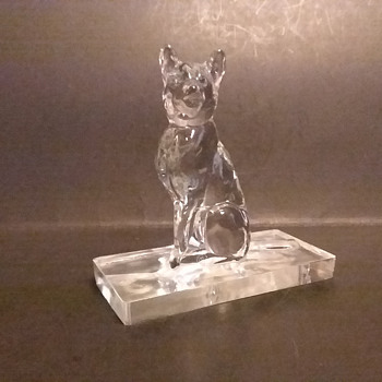 New Martinsville mold German Shephard commemorative - Art Glass