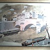 """Large French Waterfront Print 26"""" x 35"""" Framed / Marked """"Hand Printed in France""""/Circa Mid 20th Century/"""