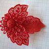 Red Flower Plastic (?) Dress/Fur Pin