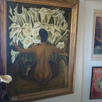 """Painting Copy, """"Woman With Calla Lilies"""", Diego Rivera with Model Frida Khalo."""