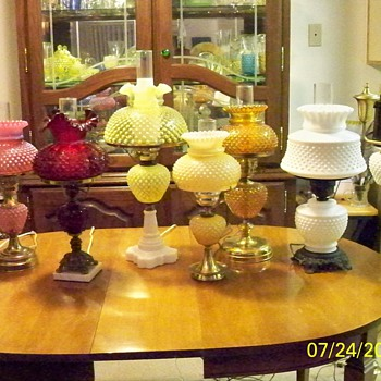 my fenton hobnail lamp collection - Glassware