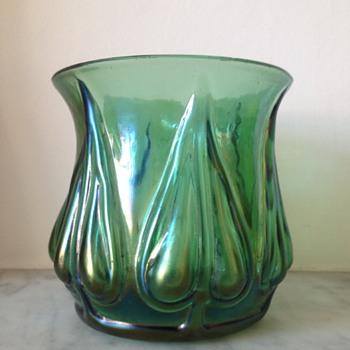 Iridescent green mould-blown petal bud vase - Art Glass