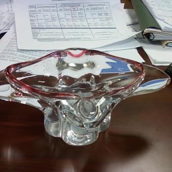 Chalet Glass? pink edge heavy lead crystal no markings - Art Glass