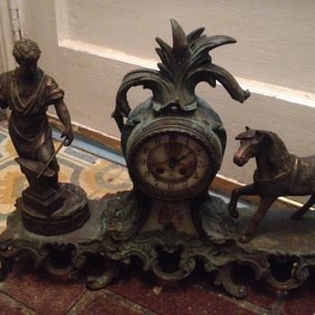 old Gilbert Figure Metal Mantel Clock 27616 - Clocks