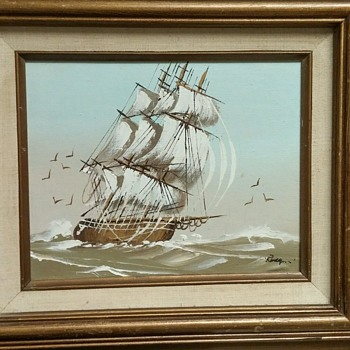 Wooden Ship painting with some information. - Fine Art