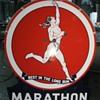 """1954 58"""" Die cut Marathon sign"""