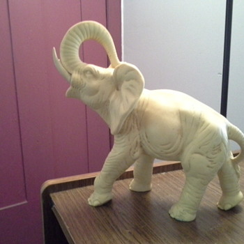 antique or vintage white stone elephant - Figurines