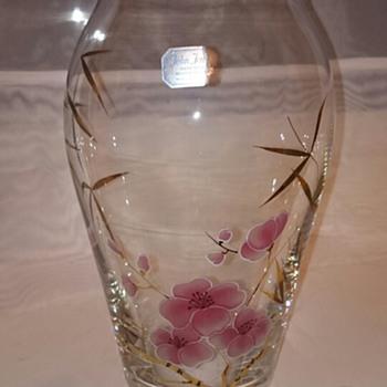 Handpainted Czech glass vase - Half a sticker?! - Art Glass